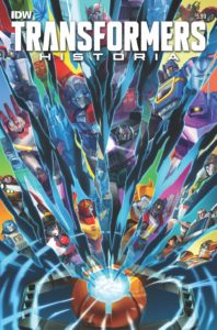 Transformers: Historia, Cover by Sara Pitre-Durocher, IDW, 2019 - A multicolored set of shattered glass-like shards, each reflecting a different character