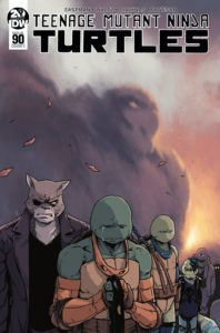 Teenage Mutant Ninja Turtles #90, Cover by Michael Dialynas, IDW, 2019 - The turtles and an anthropomorphic one-eyed cat in a trenchcoat, all looking down in mourning