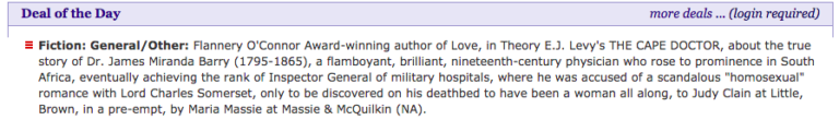 The Cape Doctor, Publishers Marketplace screenshot
