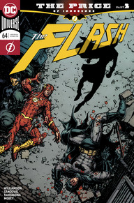 Batman and Flash defeated on broken concrete while the silhouette of Gotham Girl hovers