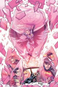 The YJ team in the facets of a pink gem