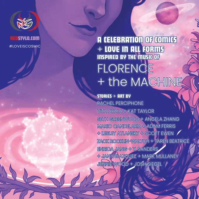 A crop of the cover image of COSMIC LOVE, with the creator list overlaid in white text with a blue stroke. The cover is an illustration of a white woman with dark hair, rendered in hues of pink and purple. There's a glowing, anatomically reminiscent heart in the woman's chest, floating in a swirl of pinks. The creators include: Rachel Perciphone, Jennie Wood + Josh Segal, Vita Ayala + Kat Taylor, Seth Greenwood + Angela Zhang, Enrica Jang + Y. Sanders + Jan Velazquez + Mark Mullaney, Mario Candelaria + Adam Ferris + Lesley Atlansky + Scott Ewan, Zack Rocklin-Waltch + Taren Beatrice. COSMIC LOVE, Rachel Perciphone & Jennie Wood, Red Stylo Press, 2019.