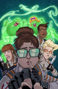 Ghostbusters 35th Anniversary: Answer The Call Ghostbusters by Devin Grayson (writer) and S.L. Gallant (artist), IDW, 2019 - Abby puts a finger to her mouth and hushes the viewer, while Erin, Jillian, and Patty look around behind her. Behind the team, Slimer and Lady Slimer float, wearing wide open grins