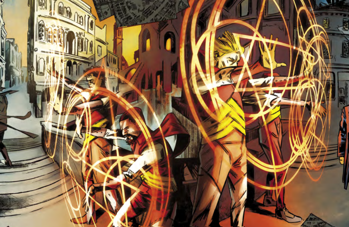 Part of a two-page spread in the Steel Prince illustrating the Red London mages sealing off their world.