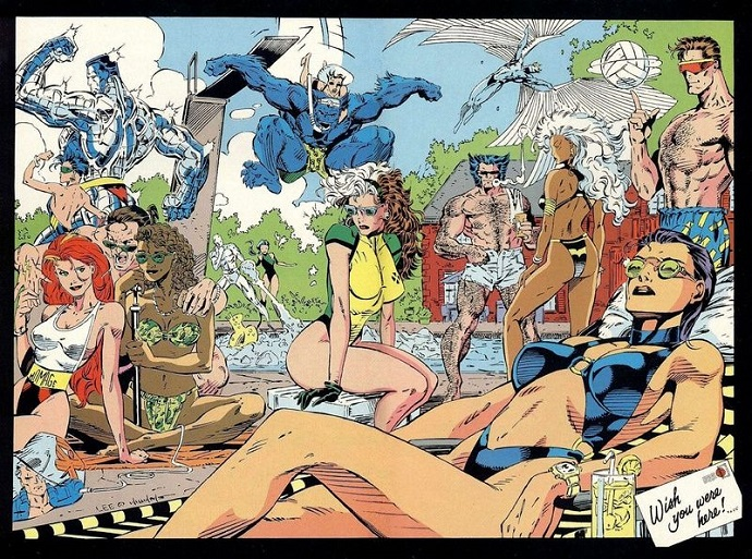 The X-Men have some fun at the pool in their swimwear.