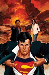 Clark doing a shirt rip while Jimmy and Lois are in the background