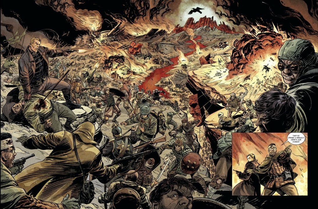 Arale Pages 48-49. Written by Tristan Roulot and drawn by Denis Rodier. Published by Europe Comics. February 14, 2019. - A detailed panorama of a war scene with soldiers and dead bodies taking up the entire page; in the background, the sole point of light illuminates the shape of a far-off giant bird