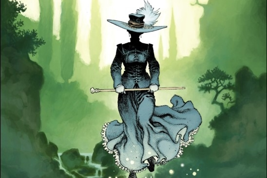 Aristophania Cover. Written by Xavier Dorison and drawn by Joël Parnotte. Published by Dargaud-Benelux (French), and Europe Comics (English). March 19, 2019. - A figure in early 20th-century women's dress strides forward, face in shadow