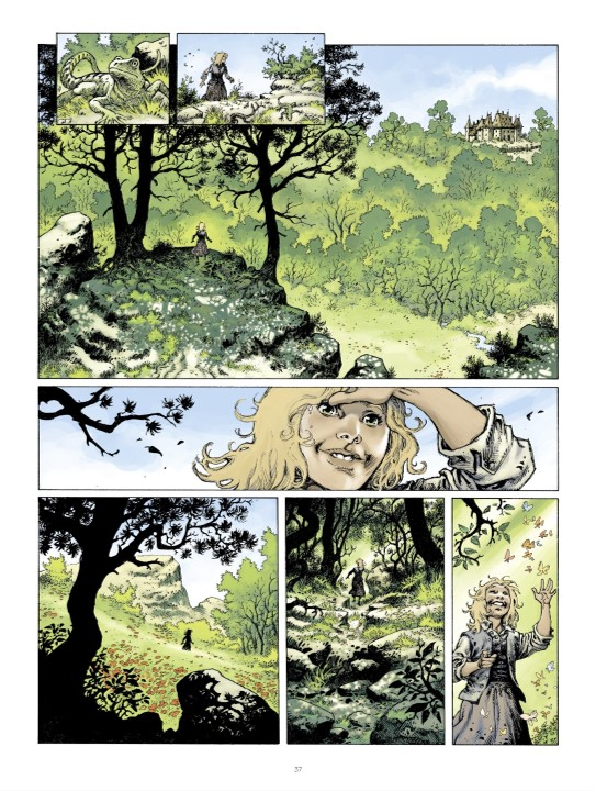 A child in Azur in Aristophania Page 37. Written by Xavier Dorison and drawn by Joël Parnotte. Published by Dargaud-Benelux (French), and Europe Comics (English). March 19, 2019.