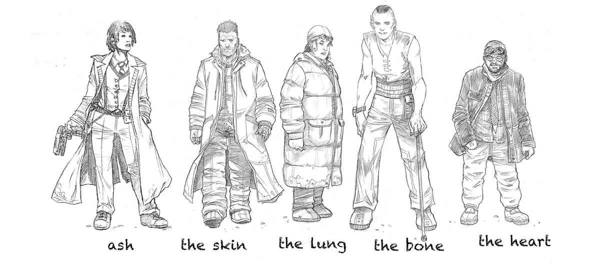A group of people - Ash, The Skin, The Lung, The Bone, and The Heart - in various utilitarian to post-apocalyptic outfits