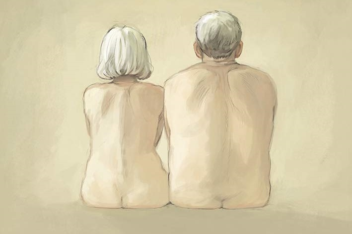 Blossoms in Autumn Cover. Written by Zidrou and drawn by Aimee de Jongh. Published by Europe Comics. March 19, 2019. - Two elderly people, a woman and a man, sit next to each other, naked and pictured from behind