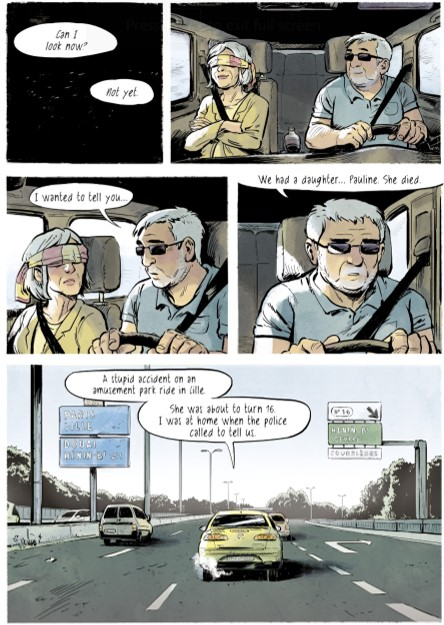 "Blossoms in Autumn Page 115. Written by Zidrou and drawn by Aimee de Jongh. Published by Europe Comics. March 19, 2019. - An elderly couple in a car on a highway; the woman is blindfolded, asking ""Can I look now?"""