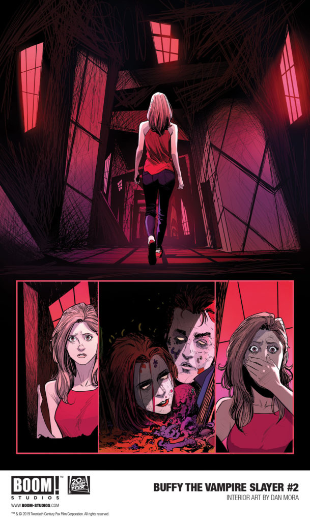 Preview panel for Buffy: The Vampire Slayer #2 Jordie Bellaire (writer); Dan Mora (art); Raul Angulo (colors); Ed Dukeshires (letters); Ryan Inzana, Celia Lowenthal, Miguel Mercado, Audrey Mok, Matthew Taylor, Kevin Wada (Covers) February 2019 Boom! Studios