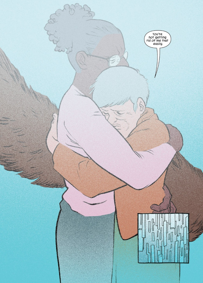 "Squirrel Girl and Nancy embrace as they step into the time machine. A speech bubble reads, ""You're not getting rid of me that easily."""