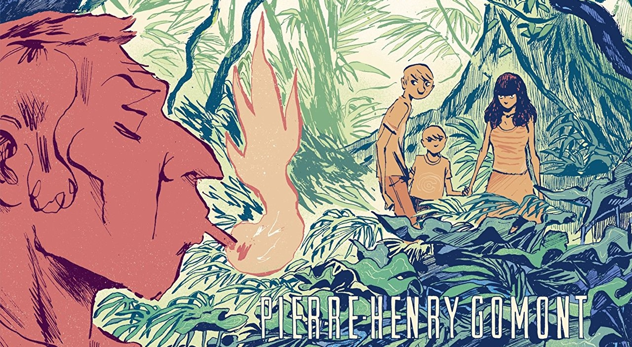 Malaterre Cover. Written and drawn by Pierre-Henry Gomont. Published by Europe Comics. February 14, 2019. - An older man smoke a cigarette, while in the background a group of three children look at him from a rich green jungle environment