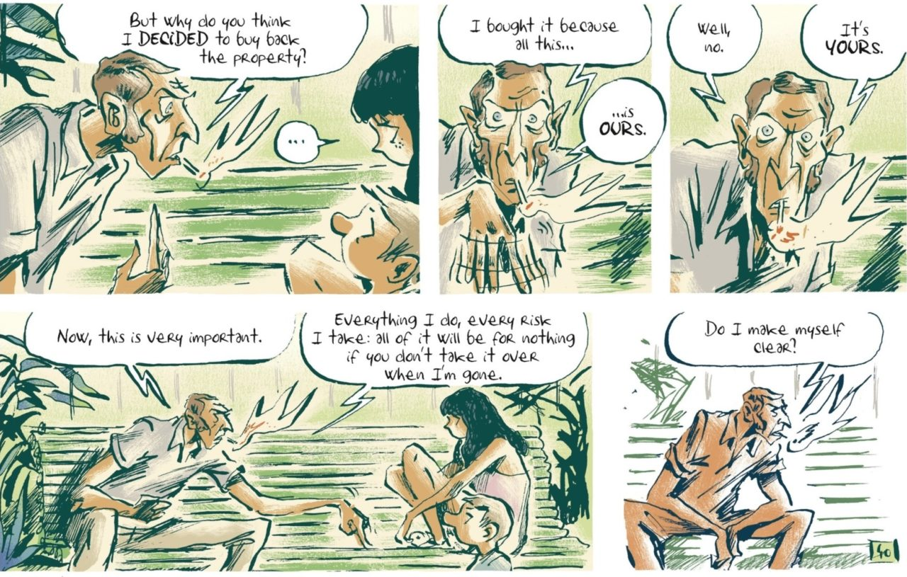 Malaterre Page 46. Written and drawn by Pierre-Henry Gomont. Published by Europe Comics. February 14, 2019. - Gabriel smokes while talking to his silent children about the land belonging to them