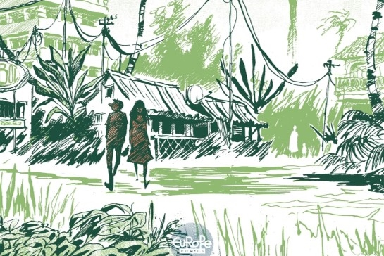 Malaterre Part 2 Cover. Written and drawn by Pierre-Henry Gomont. Published by Europe Comics. March 19, 2019. - Two people walk through a village landscape in various shades of green