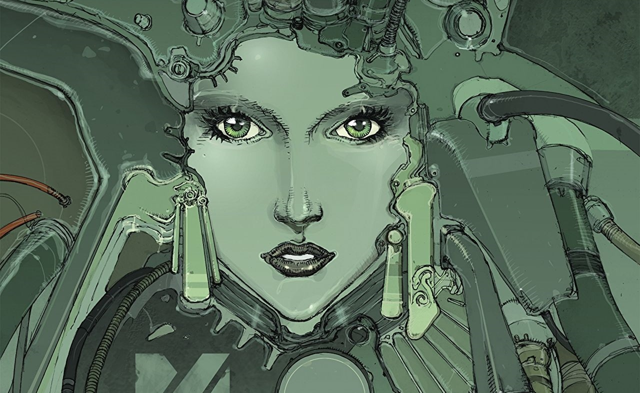 Medina Cover. Written by Jean Dufaux and drawn by ELGO. Published by Europe Comics. February 14, 2019. - A woman's face, all in shades of green, surrounded by and possibly melding with what looks like complex machinery