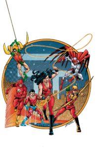 The original five Titans and Hawk
