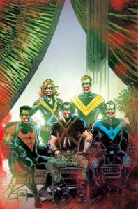 The five Nightwings with Jokerized faces in a family portrait