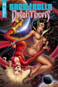 Cover art for Barbarella/Dejah Thoris #4 - Art: German Garcia; Covers: Laura Braga, German Garcia, Zach Hsieh, Julius Ohta; Writer: Leah Williams - Dejah and Barbarella float in space, holding hands, eyes closed