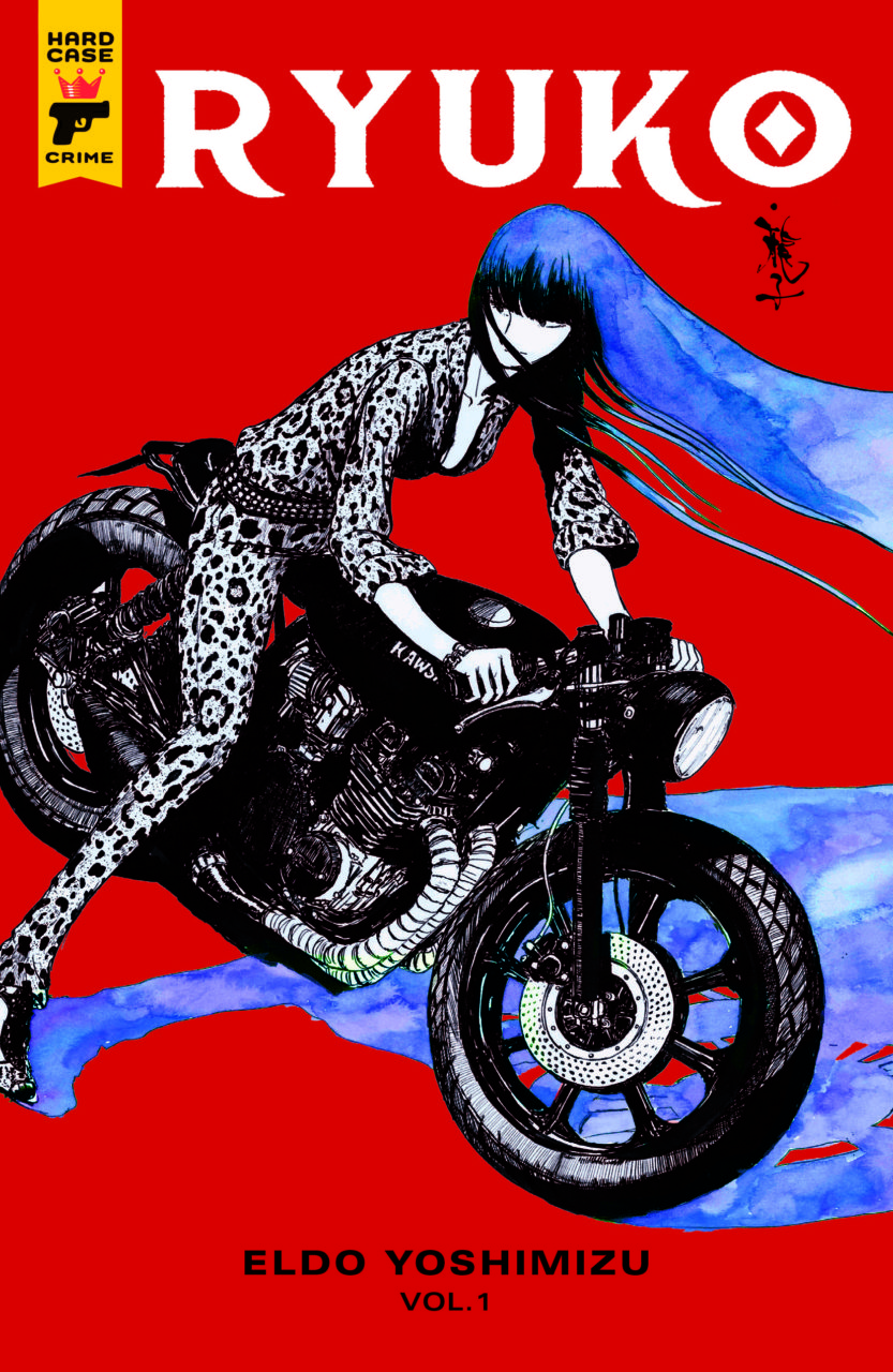 Cover for Ryuko - A girl in a leopard-print jumpsuit with long blue hair on a motorcycle