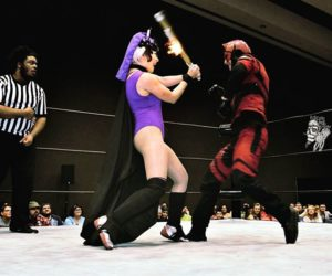 Evil Lyn using her powerful magic on Daredevil at Raleigh Supercon 2017. Photo credit: Rob Holt, Fisticuffs Photography