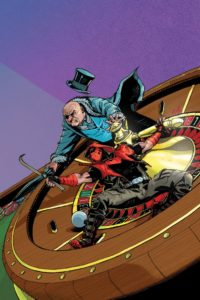 Red Hood fighting the Penguin airborne in front of a clockthower