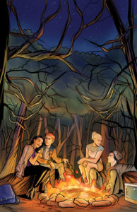 Riverdale Season 3 #1 Cover B by Joe Eisma. Written by Michael Ostow, drawn by Thomas Pitilli and Joe Eisma. Published by Archie Comics. March 13, 2019. - Archie, Veronica, Betty, and Jughead sit around a campfire