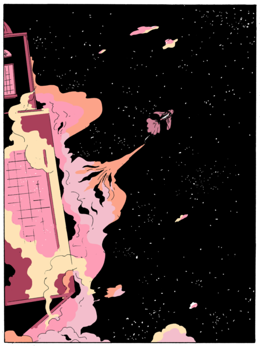 In an image composed of a limited palette of black, pinks, and yellow, a spaceship shaped like a fish bursts into the black of space from a floating building. The spaceship and building are rendered in pinks, and the the smoke/fog that was disrupted by the spaceship taking off billows around the building in pinks and yellow. On A Sunbeam, Tillie Walden, First Second, 2018; image source: www.onasunbeam.com/chapter13
