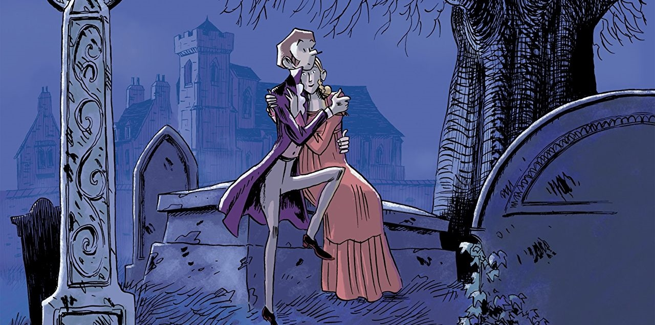 Shelley Cover. Written by Vandermeulen and drawn by Daniel Casanave. Published by Europe Comics. February 14, 2019. - Percy, a slender pale man in historical attire, looks out at a graveyard at night while holding a woman in his arms
