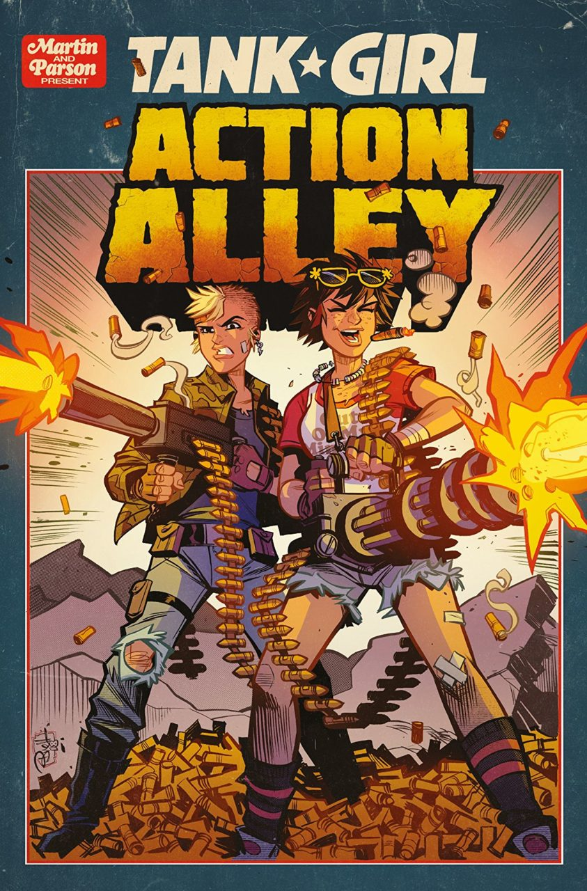 Cover for Tank Girl: Action Valley - Two girls fire machine guns off-screen, standing on a pile of spent shells