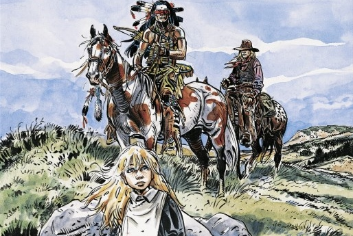 Wyoming Doll Cover. Written and drawn by Franz. Published by Europe Comics. March 19, 2019. - A blonde, long-haired young girl in the foreground with what looks like a Native American warrior on a horse behind her