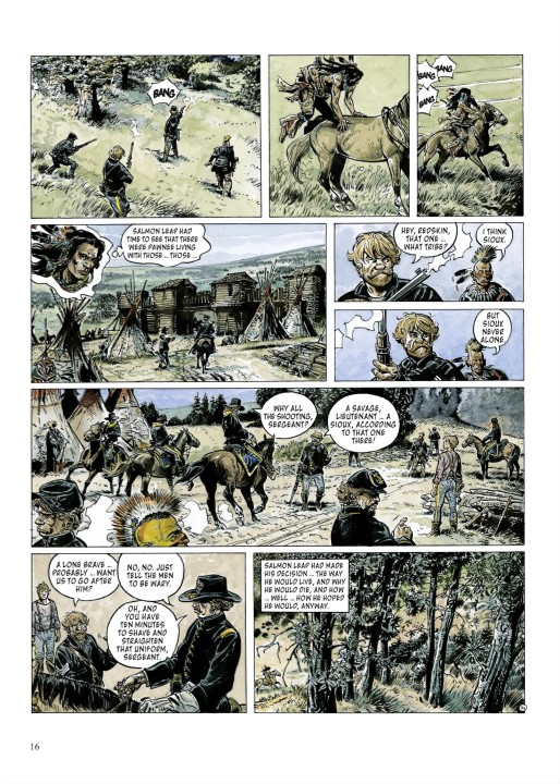 Wyoming Doll Page 16. Written and drawn by Franz. Published by Europe Comics. March 19, 2019. - Panels depict a Native American man mounting a horse and riding off, pursued by white men