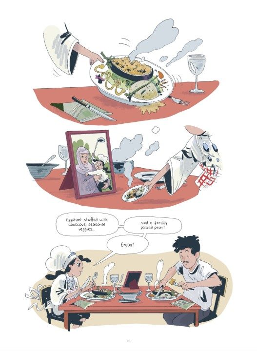 Yasmina serves food in Yasmina and the Potato Eaters Page 16. Written and drawn by Wauter Mannaert. Published by Dargaud-Benelux (French), Europe Comics (English). March 19, 2019.