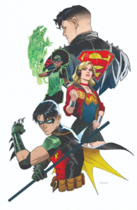 Young Justice #4 Cover B by Dan Mora. Written by Brian Michael Bendis, drawn by Patrick Gleason and John Timms. Published by DC Comics. April 3, 2019 - Waist-up portraits of Robin, Superboy, Wonder Girl, and Teen Lantern