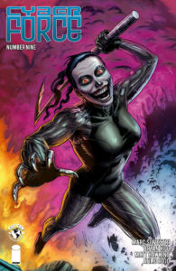 Killjoy leaps upward, wearing a rictus grin and wielding a weapon on the cover of Cyberforce 9 (Top Cow Productions, March 2019)