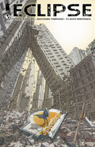 A lone figure in a blew coat blowing in the wind stands beneath towers in a crumbling city on the cover of Eclipse #13 (Top Cow Productions, March 2019)