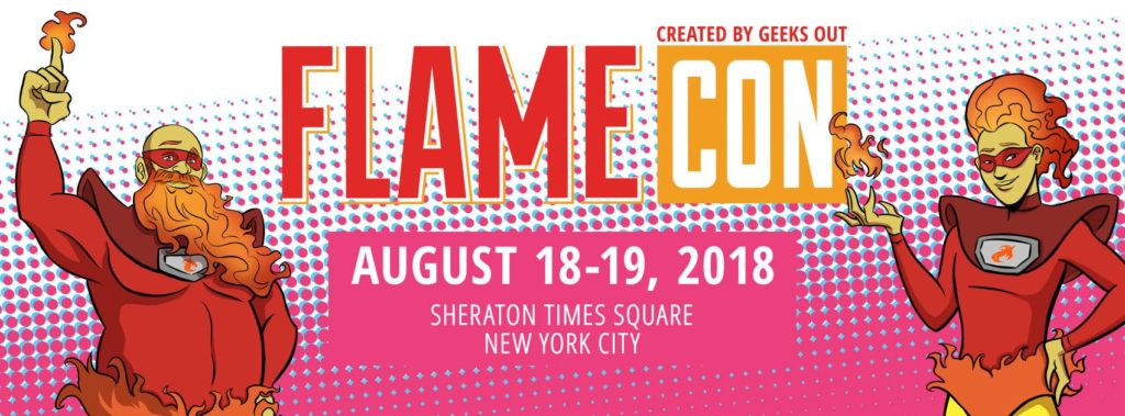 two figures stand on either side of the information about the dates and location of the 2019 Flame Con