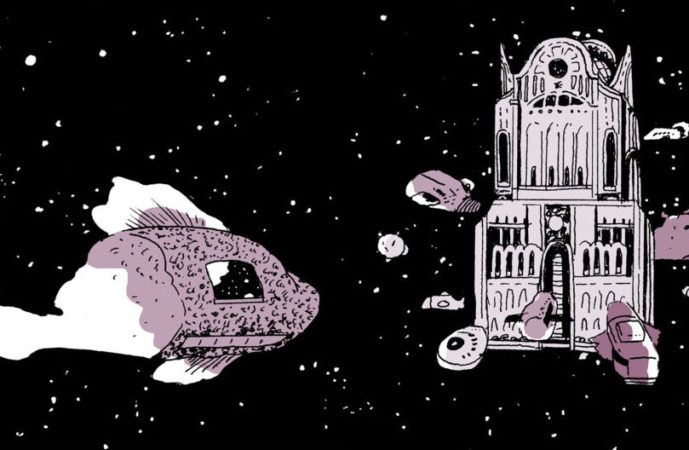 A crop of a panel set against the vast black backdrop of space. A spaceship like a squat fish drifts towards a stately building, floating with no foundation or planet near it. The fish and building are rendered in light pinks and white; space is black, and scattered with stars. On a Sunbeam, Tillie Walden, First Second, 2018