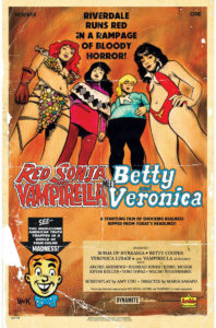 "A mock-poster for ""Red Songa & Vampirella meet Betty & Veronica"", featuring all four standing and looking down at the viewer in a parody of horror/exploitation films"