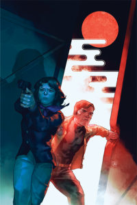 Cover art for The Six Million Dollar Man #1 - Francesco Francavilla, Denis Medri, Yasmine Putri, Michael Walsh; Writer: Christopher Hastings; Art: David Hahn - A woman colored in cool blues aims a gun, while behind her a man in shades of red pushed open a door