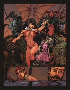 Panel from Vampirella story from Playboy Magazine Spring 2019: Gail Simone writing, Joyce Chin art, Addison Duke colors and Taylor Espositio the lettering. C 2019 Playboy Enterprises - A well-endowed lady in a revealing red bikini smiles and reaches towards the viewer