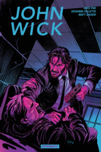 Cover Art for John Wick Vol 1 Hardcover: Writer: Greg Pak. Cover: Giovanni Valetta Art: Giovanni Valetta, Matt Gaudio C Dynamite Comics April 2019