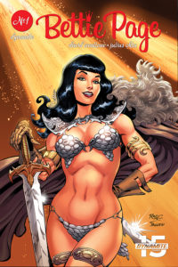 Cover A for Bettie Page: Unbound: Writer: David Avallone, Cover Art: Scott Chantler, Julius Ohta, John Royle, David Williams Art: Julius Ohta C Dynamite Comics April 2019