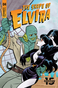 J Bone's cover for Elvira: The Shape of Elvira #4: Cover Art: Dave Acosta, J. Bone, Francesco Francavilla, David Avallone, Art: Fran Strukan. C Dynamite Comics April 2019