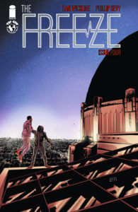 A person holds aloft another man by his throat on the top of a building on the cover of The Freeze #4 (Top Cow Productions, March 2019)
