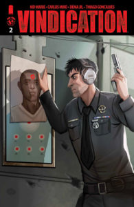 A police officer holds a gun at a shooting ranger, angrily staring at the image of a black man's face on a target on the cover of Vindication #2 (Top Cow Productions, March 2019)