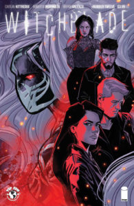 The face of Alex in the Witchblade mask is surrounded by the figures of 4 people on the cover of Witchblade #13 (Top Cow Productions, March 2019)