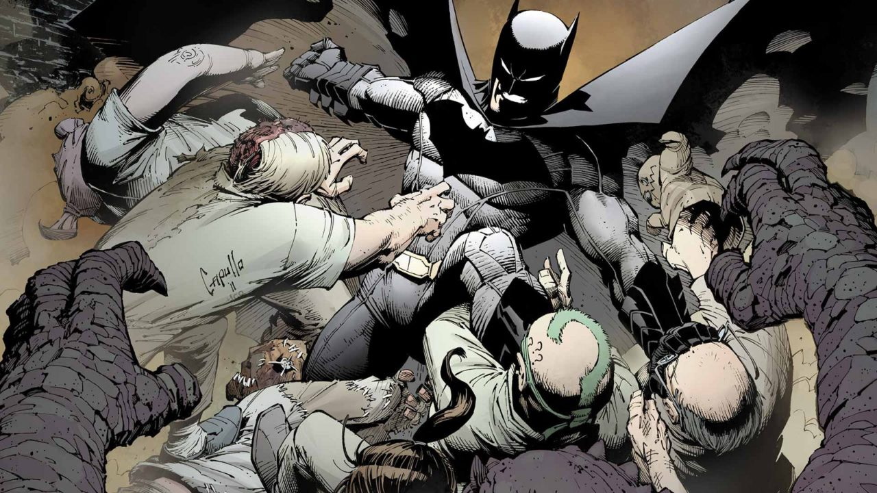 Batman, arms and wings spread, fights off a hoard of criminals